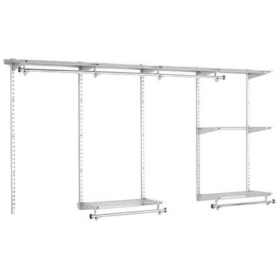Rubbermaid Configurations Classic Custom 4 Foot to 8 Foot Wide Walk In or Reach In Closet Shelving and Hanging Storage Solution Kit