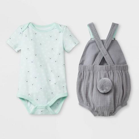 06ae07905 Baby Boys' Bunny Bodysuit/Short Romper Set - Cat & Jack™ Green/Gray : Target