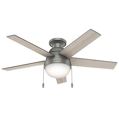 46  Anslee Low Profile Matte Silver Ceiling Fan with Light - Hunter Fan