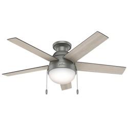 """46"""" Anslee Low Profile Matte Silver Ceiling Fan with Light - Hunter Fan"""