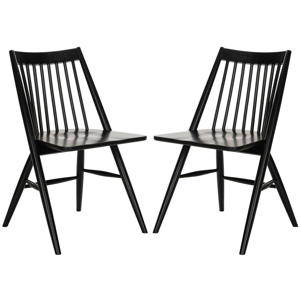 Set of 2 Wren Spindle Dining Chair Black - Safavieh