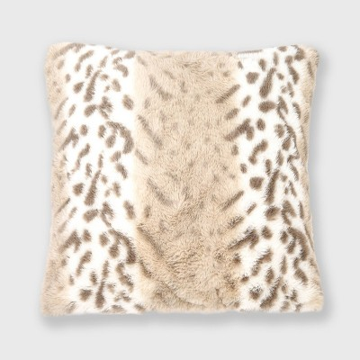 "18""x18"" Leopard Faux Fur Throw Pillow - EVERGRACE"