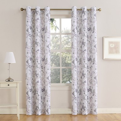 Hariette Floral Print Casual Textured Grommet Curtain Panel Lilac 48 x95  - No. 918