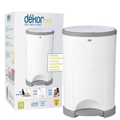 Dekor Mini Hands Free Diaper Pail - White