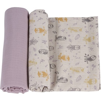 MiracleWare Muslin Swaddle Forest Owl - 2pk