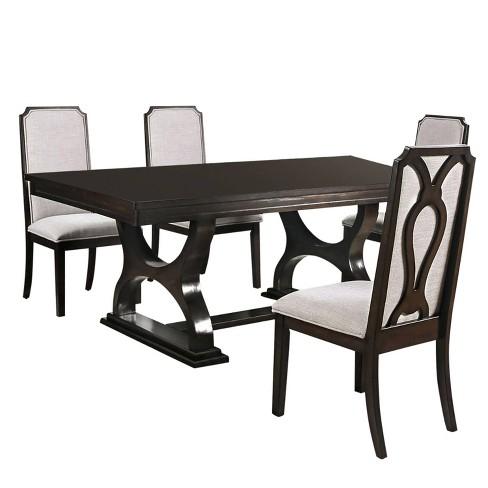 5pc Yorktown Dining Set Dark Brown, Zimbroni Dining Room Set