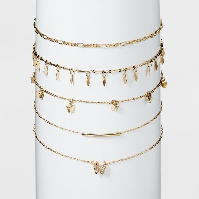 Shiny Gold Butterfly Choker Necklace Set 5pc - Wild Fable™ Gold