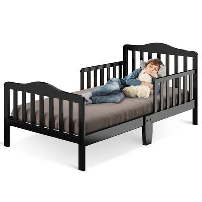 Costway Kids Toddler Wood Bed Bedroom Furniture w/ Guardrails Black\Brown\Grey\ White
