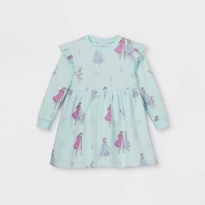 Toddler Girls' Disney Frozen Long Sleeve Fleece Dress - Light Blue