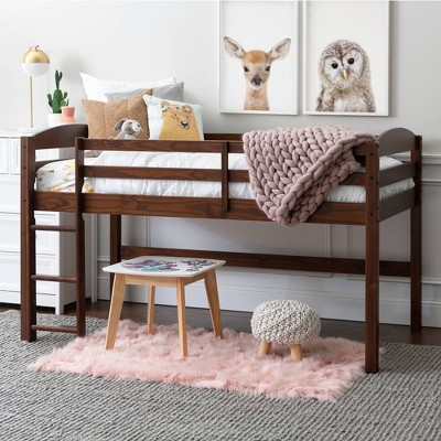 Twin Solid Wood Low Loft Bed Walnut - Saracina Home