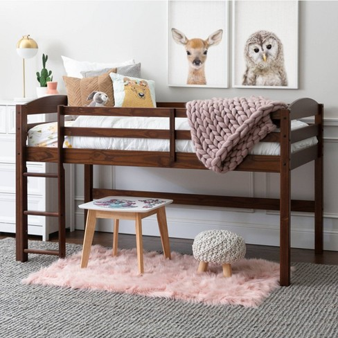 Twin Solid Wood Low Loft Bed Walnut Saracina Home Target
