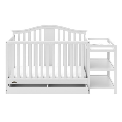 Graco Solano 4-in-1 Convertible Crib and Changer with Drawer - White