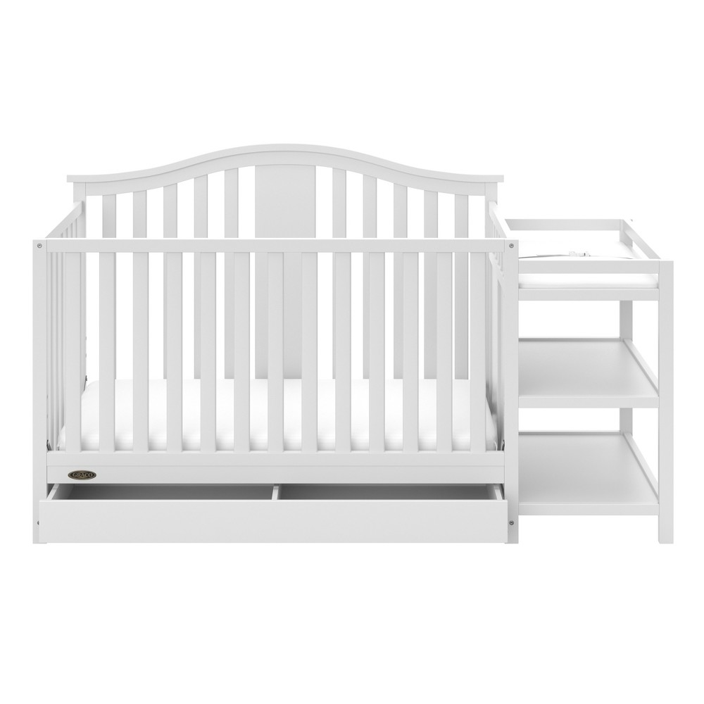Image of Graco Solano 4-in-1 Convertible Crib and Changer with Drawer - White