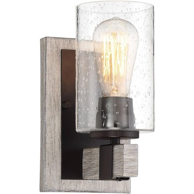 """Franklin Iron Works Rustic Farmhouse Wall Light Sconce Gray Wood Grain Bronze Hardwired 9"""" High Fixture Seedy Glass for Bathroom"""