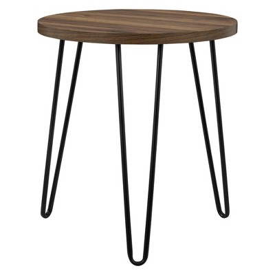 Heywood Retro Round End Table Walnut - Room & Joy