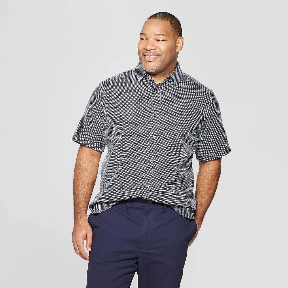 Men's Tall Jacquard Short Sleeve Novelty Button-Down Shirt - Goodfellow & Co Navy LT, Blue