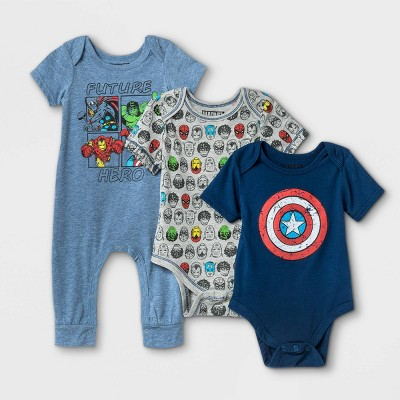 Baby Boys' 3pk Marvel Superheroes Short Sleeve Bodysuit - Blue Newborn