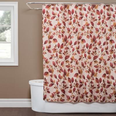 Faithful Leaves Shower Curtain Red - Saturday Knight Ltd.