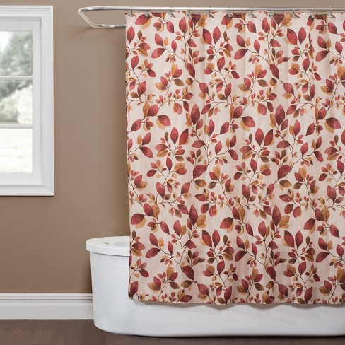 Faithful Leaves Shower Curtain Red