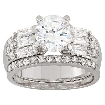 3.22 CT. T.W. Cubic Zirconia Engagement Ring Set In Sterling Silver