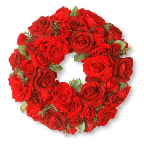 "15"" Velvet Red Rose Wreath - National Tree Company - image 1 of 1"