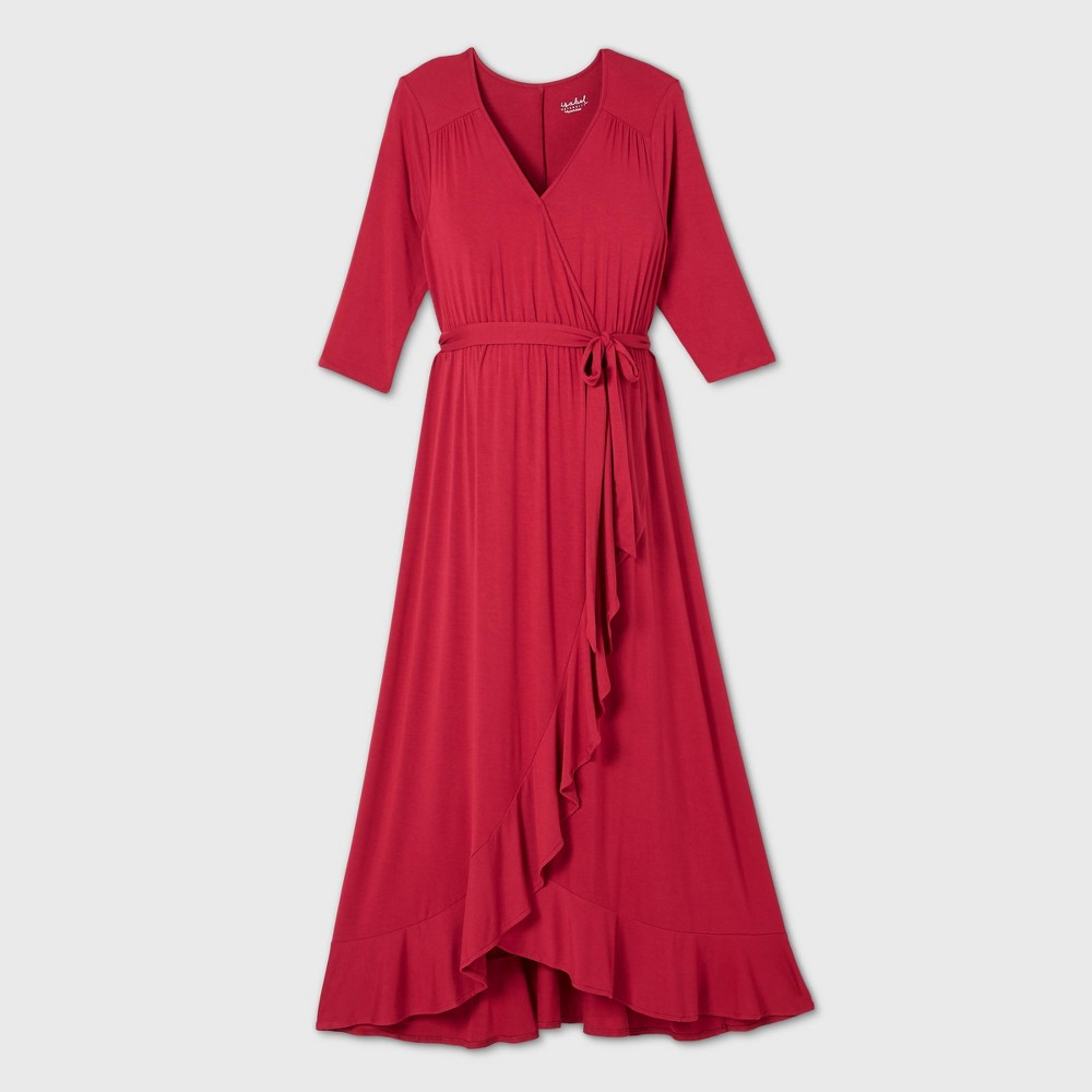 Vintage Maternity Dresses and Clothes 34 Sleeve Knit Wrap Maternity Dress - Isabel Maternity by Ingrid  Isabel Ruby XXL Red $34.99 AT vintagedancer.com
