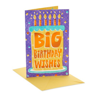 Birthday Card Cake with Lettering and Confetti