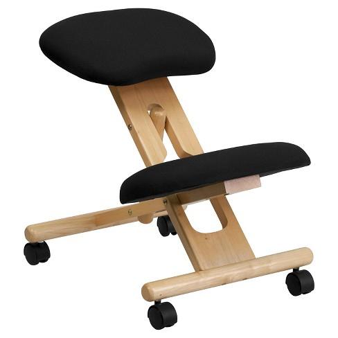 Mobile Wooden Ergonomic Kneeling Chair In Black Fabric Belnick