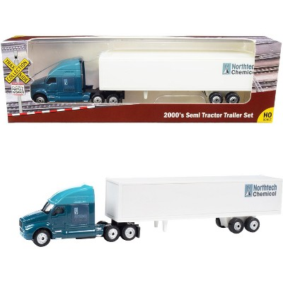 """2000's Semi Tractor Trailer Truck Dark Blue & White """"Northtech Chemical"""" 1/87 (HO) Scale Diecast Model by Classic Metal Works"""