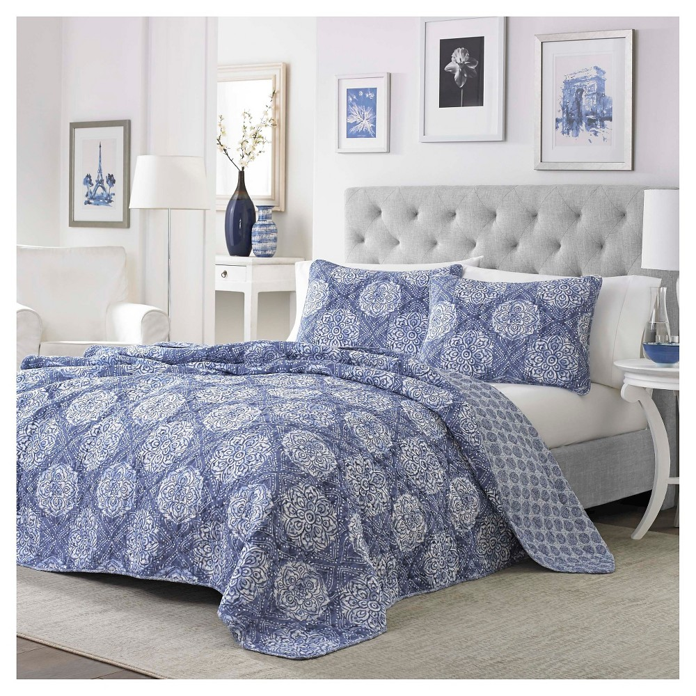 Corinth Quilt Set And Sham Set King Indigo (Blue) - Stone Cottage