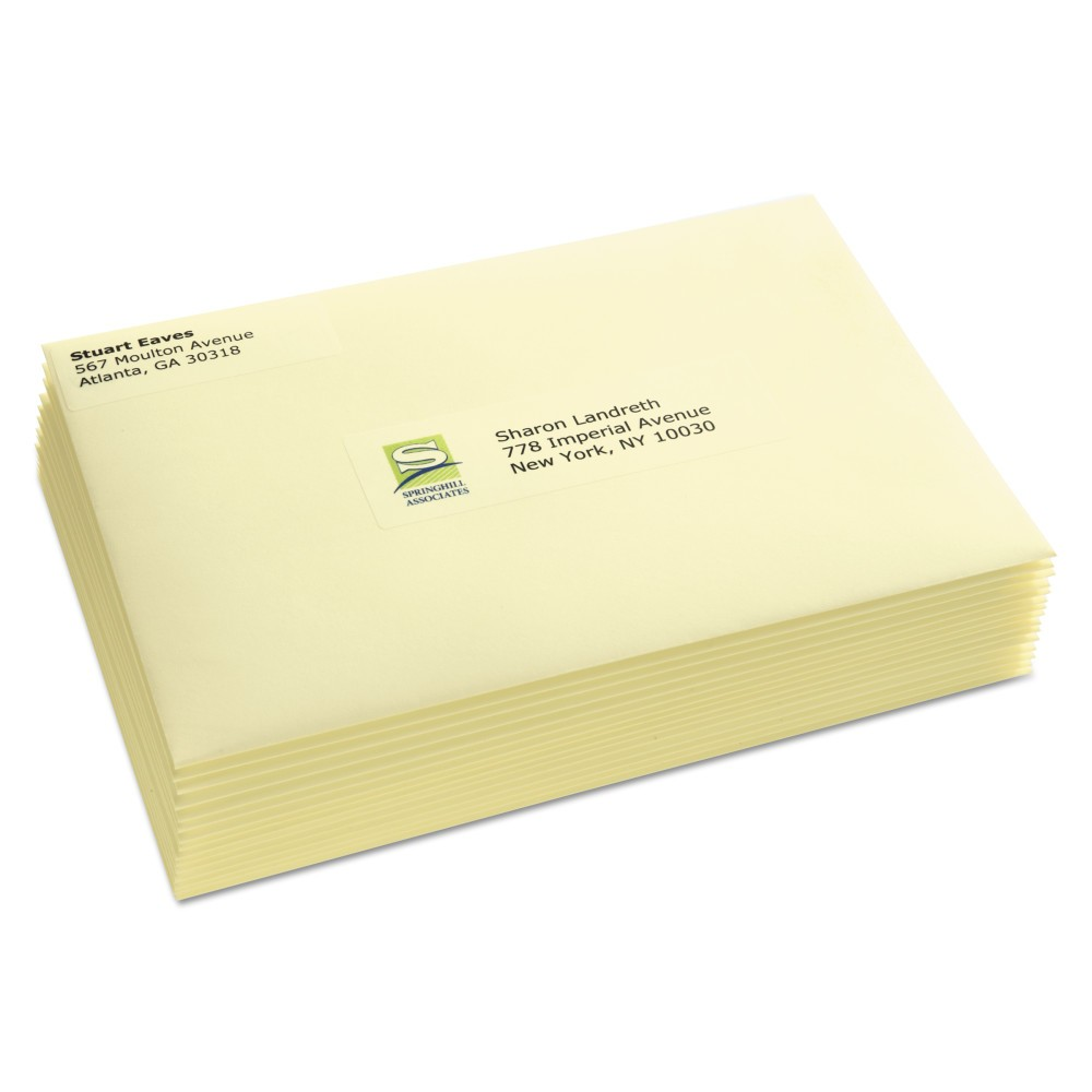 Avery Easy Peel Laser Mailing Labels, 1-1/3 x 4, Clear, 700/Box, Beige