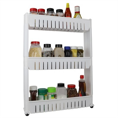Home Basics 3 Tier Plastic Storage Tower with Wheels, White