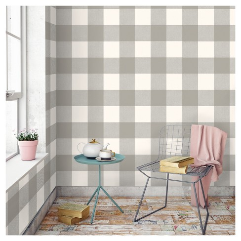 Devine Color Buffalo Plaid Peel Stick Wallpaper Mirage And Lightning Target