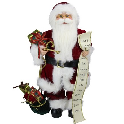 """Northlight 16"""" Red Traditional Standing Santa Claus Christmas Figure with Naughty or Nice List"""
