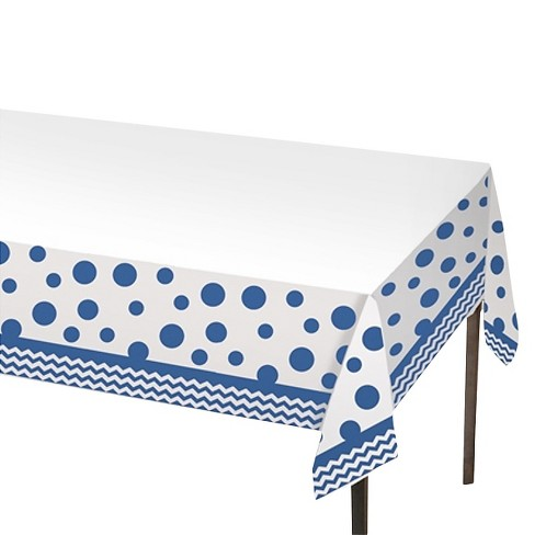Blue & White Polka Dot Table Cover - image 1 of 1