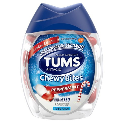 Tums Chewy Bites Peppermint Extra Strength Chewable Antacid for Heartburn - 60ct - image 1 of 4
