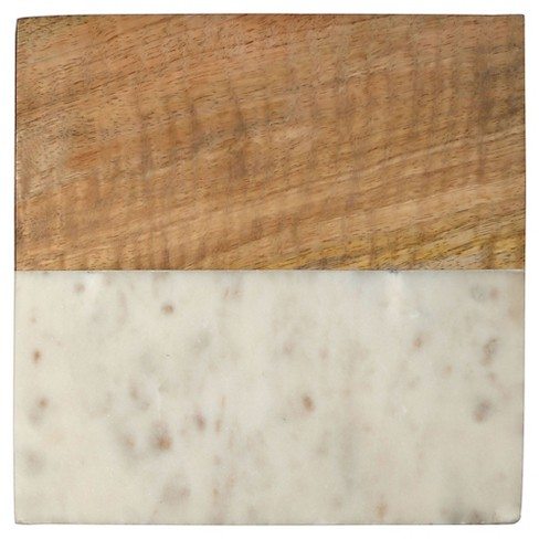 Thirstystone White Marble With Acacia Wood Coasters Set of 4 - image 1 of 1
