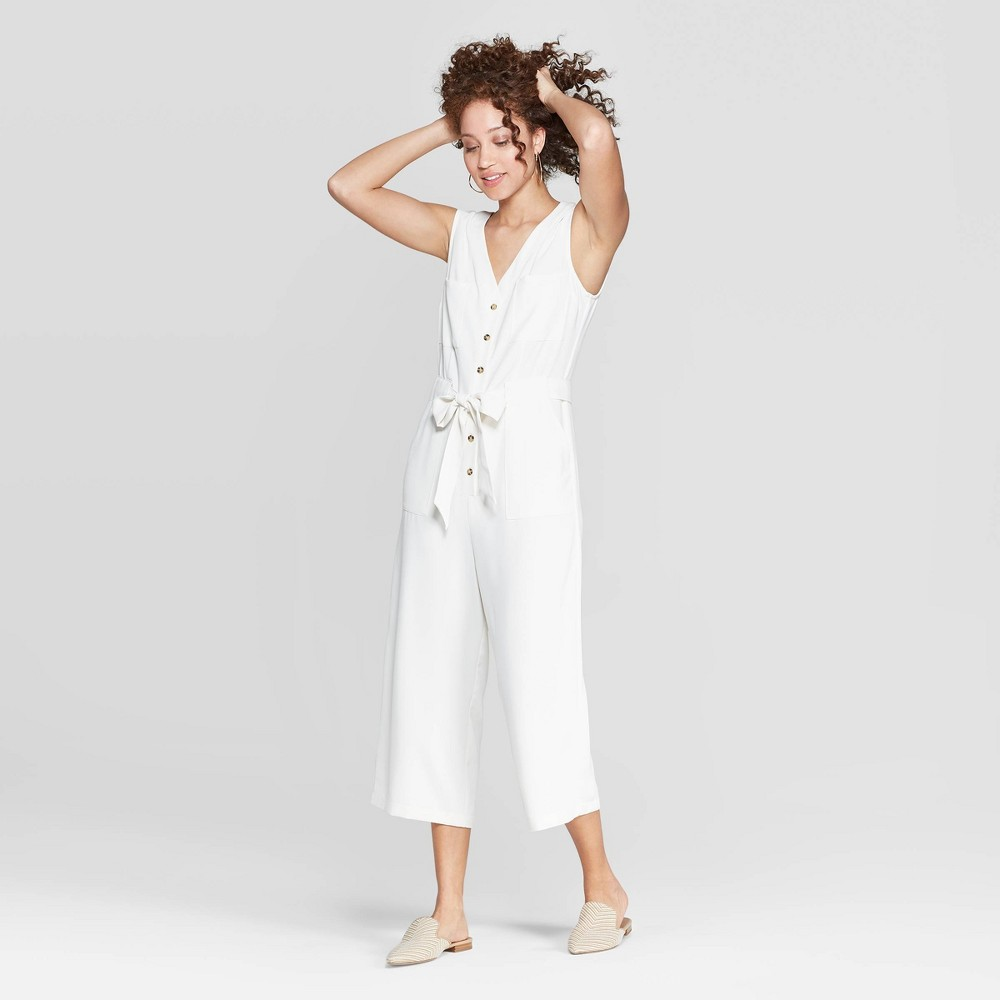 Women's Sleeveless V-Neck Button Front Jumpsuit - A New Day Cream (Ivory) XL