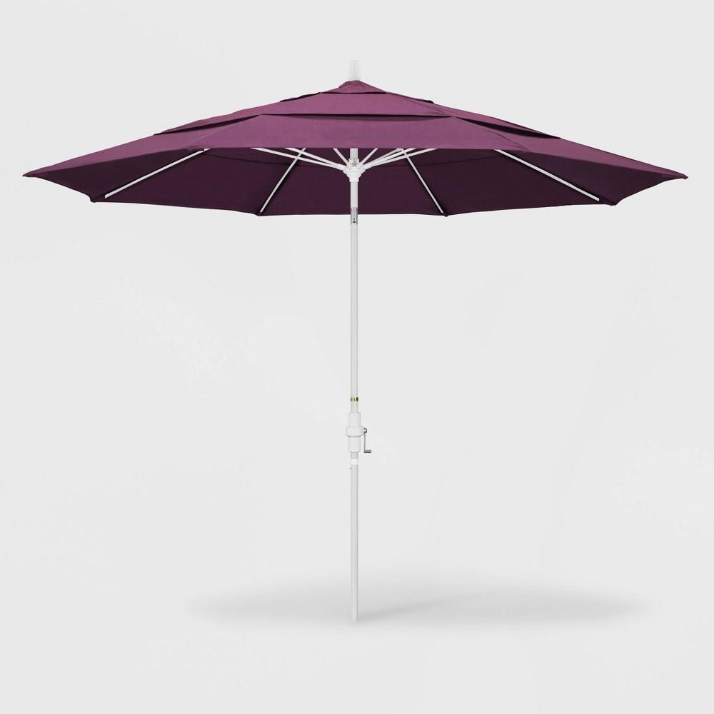 Image of 11' Sun Master Patio Umbrella Collar Tilt Crank Lift - Sunbrella Iris - California Umbrella, Purple