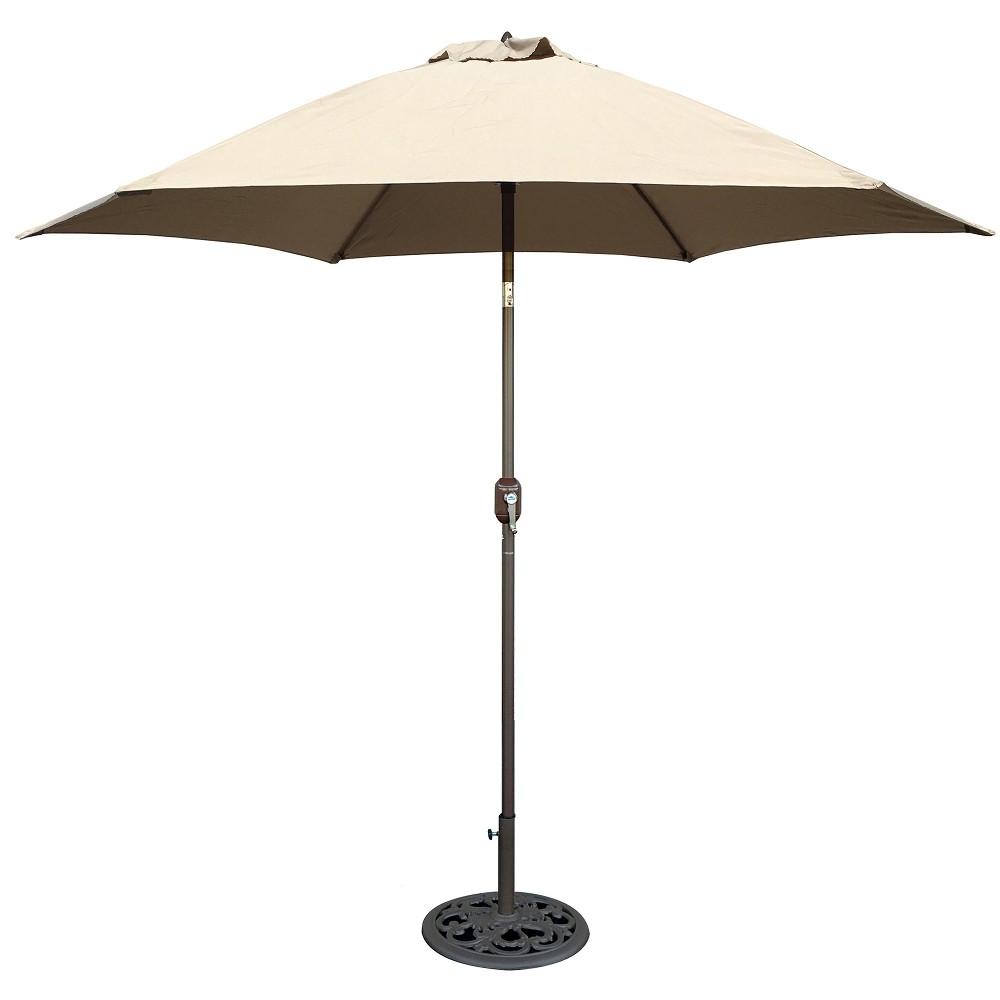 Image of 9' Round Crank Patio Umbrella - Beige