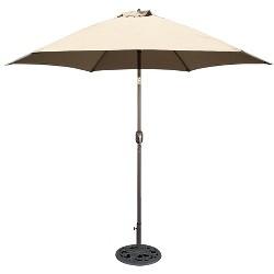 9' Round Crank Patio Umbrella - Beige