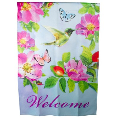 "Northlight Welcome Hummingbird Floral Outdoor House Flag 28"" x 40"""
