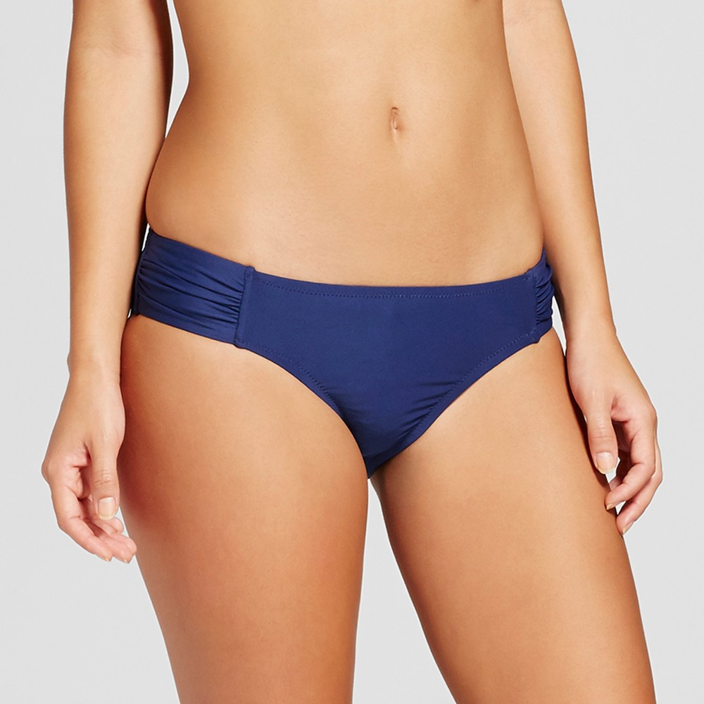 Women's Shirred Side Scoop Bikini Bottom - Sea Angel Navy (Blue) Floral XL