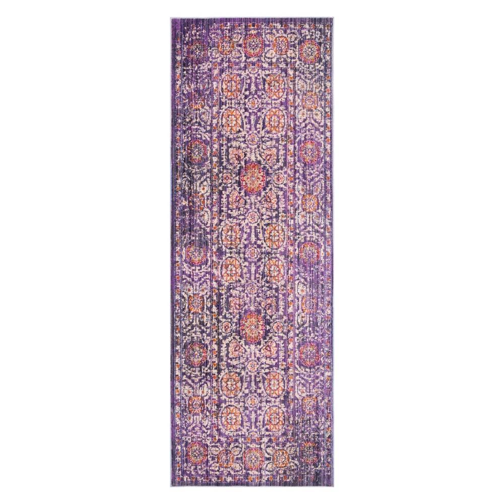 Lavender/Ivory (Purple/Ivory) Medallion Loomed Runner 3'X8' - Safavieh