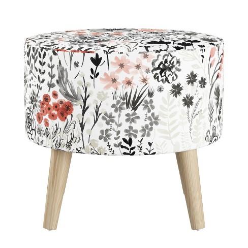 Tremendous Round Ottoman With Splayed Legs Winter Botanical Red Unemploymentrelief Wooden Chair Designs For Living Room Unemploymentrelieforg