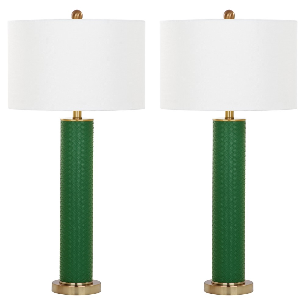 Image of Ollie Dark Green Faux Woven Leather Table Lamp Set of 2 - Safavieh