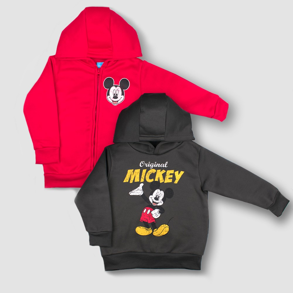 Toddler Boys' 2pk Disney Mickey Mouse & Friends Mickey Mouse Hooded Sweatshirt Set - Red 12M