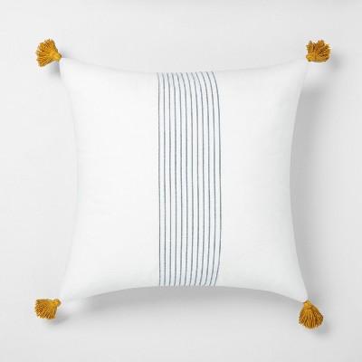 "22"" x 22"" Center Stripes Tassel Throw Pillow Sour Cream / Blue - Hearth & Hand™ with Magnolia"