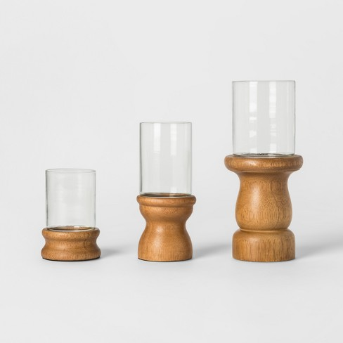 Wooden Candle Holder Set of 3 - Brown - Threshold™ - image 1 of 3