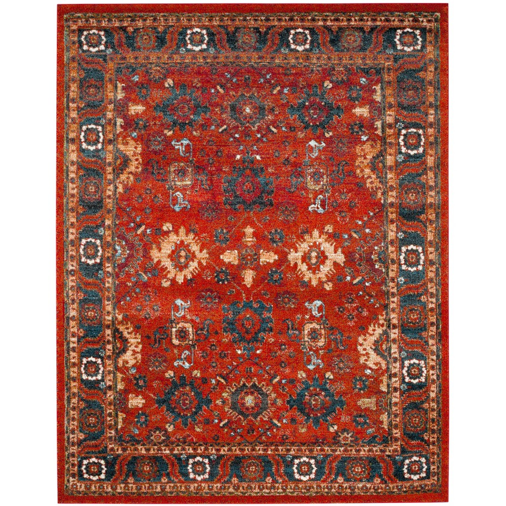 "Image of ""10'6""""X14' Loomed Floral Area Rug Orange - Safavieh, Orange/Blue"""